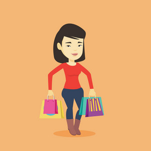 Happy asian woman carrying shopping bags. Young smiling woman holding shopping bags. Woman standing with a lot of shopping bags. Vector flat design illustration. Square layout.