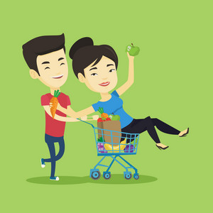 Happy asian woman pushing a shopping trolley with her friend. Couple of young carefree friends having fun while riding by shopping trolley. Vector flat design illustration. Square layout.