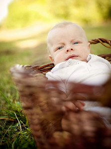 Happy baby boy lying in the basket in nature