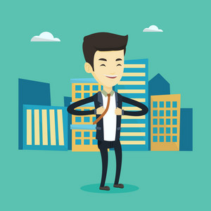 Happy business man opening his jacket like superhero. Asian business man superhero. Young business man in suit taking off his jacket like superhero. Vector flat design illustration. Square layout.