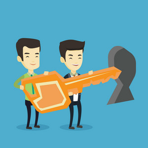 Happy business men standing in front of a keyhole with big key. Business team holding the key to success. Two business men carrying huge golden key. Vector flat design illustration. Square layout.