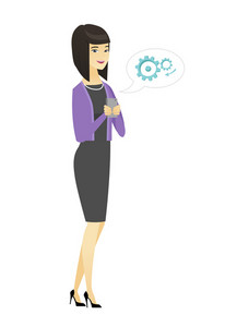 Happy business woman holding mobile phone in hands. Full length of business woman with mobile phone. Business woman using mobile phone. Vector flat design illustration isolated on white background.