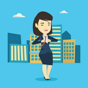 Happy business woman opening her jacket like superhero. Asian business woman superhero. Young business woman in suit taking off jacket like superhero. Vector flat design illustration. Square layout.