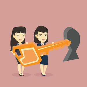 Happy business women standing in front of a keyhole with big key. Business team holding the key to success. Two business women carrying huge golden key. Vector flat design illustration. Square layout.