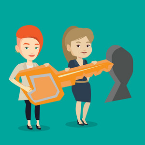 Happy business women standing in front of a keyhole with big key. Business team holding the key to success. Two businesswomen carrying huge golden key. Vector flat design illustration. Square layout.