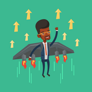 Happy businessman flying on the business start up rocket. An african-american businessman flying with a jet backpack. Business start up concept. Vector flat design illustration. Square layout.