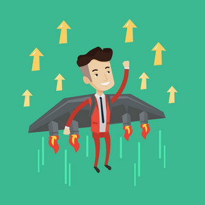 Happy businessman flying on the rocket. Businessman flying with a jet backpack. Concept of business start up and moving forward for business success. Vector flat design illustration. Square layout.