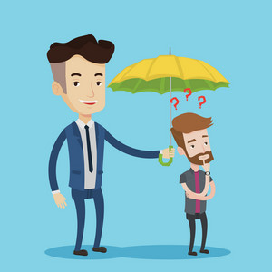 Happy businessman holding umbrella over young man. A hipster man standing under the umbrella and question marks. Concept of protection and insurance. Vector flat design illustration. Square layout.
