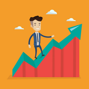 Happy businessman standing on an uprising chart. Cheerful businessman running along the growth graph. Businessman going up. Successful business concept. Vector flat design illustration. Square layout.