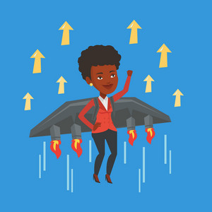 Happy businesswoman flying on the business start up rocket. An african-american business woman flying with a jet backpack. Business start up concept. Vector flat design illustration. Square layout.