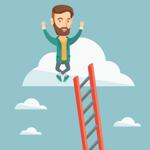 Happy caucasian business man sitting on a cloud with ledder. Successful business man relaxing on a cloud. Business man with rised hands on a cloud. Vector flat design illustration. Square layout.