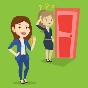Happy caucasian business woman showing key on the background of young woman looking at door. Concept of making the right decision in business. Vector flat design illustration. Square layout.