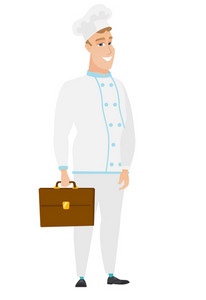 Happy caucasian chef cook holding briefcase. Full length of young chef cook with briefcase. Widely smiling chef cook holding a briefcase. Vector flat design illustration isolated on white background.