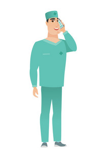 Happy caucasian doctor in uniform talking on a mobile phone. Smiling doctor talking on cell phone. Young doctor with mobile phone. Vector flat design illustration isolated on white background.