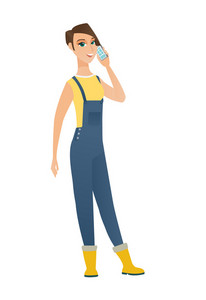 Happy caucasian farmer in coveralls talking on a mobile phone. Smiling farmer talking on a cell phone. Young farmer with a mobile phone. Vector flat design illustration isolated on white background.