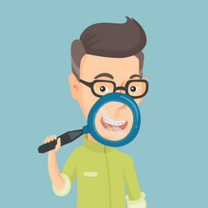 Happy caucasian man examining his teeth with magnifier. Smiling adult man holding a magnifying glass in front of his teeth. Concept of teeth examining. Vector flat design illustration. Square layout.