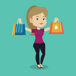 Happy caucasian woman carrying shopping bags. Smiling woman holding shopping bags. Girl standing with a lot of shopping bags. Girl showing her purchases. Vector flat design illustration. Square layout