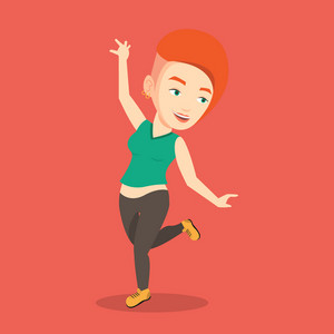 Happy caucasian woman dancing. Cheerful woman dancer with arm raised in motion. Smiling woman during dance workout. Vector flat design illustration. Square layout