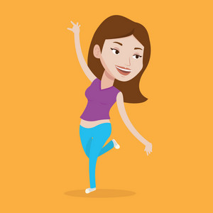 Happy caucasian woman dancing. Cheerful woman dancer with arm raised in motion. Smiling woman during dance workout. Young sporty woman doing dance moves. Vector flat design illustration. Square layout