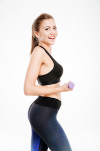 Happy fitness woman workout with dumbbells isolated on a white background
