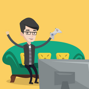 Happy gamer playing video game. An excited young man with console in hands playing video game at home. Man celebrating his victory in video game. Vector flat design illustration. Square layout.