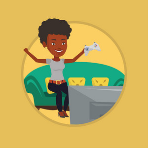 Happy gamer playing video game. Excited woman with console in hands playing video game. Woman celebrating victory in video game. Vector flat design illustration in the circle isolated on background.