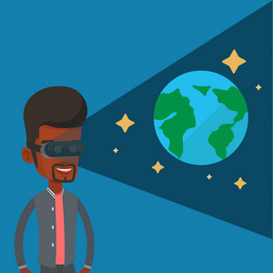 Happy gamer wearing futuristic virtual reality headset and looking at open space with earth model and stars. African-american man playing virtual game. Vector flat design illustration. Square layout.