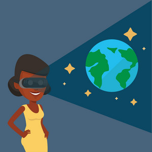 Happy gamer wearing futuristic virtual reality headset and looking at open space with earth model and stars. African-american woman playing virtual game. Vector flat design illustration. Square layout