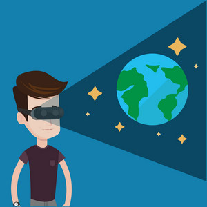 Happy gamer wearing futuristic virtual reality headset and looking at open space with earth model and stars. Young caucasian man playing videogame. Vector flat design illustration. Square layout.