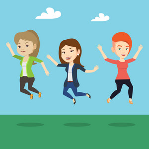 Happy group of young caucasian friends jumping in the park. Group of cheerful friends having fun and jumping outdoors. Friendship and lifestyle concept. Vector flat design illustration. Square layout.