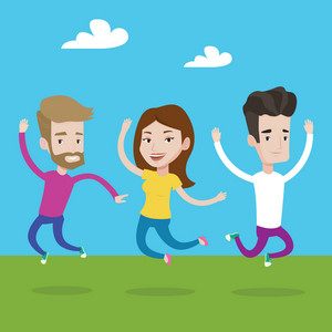 Happy group of young caucasian people jumping in the park. Group of cheerful friends having fun and jumping outdoors. Friendship and lifestyle concept. Vector flat design illustration. Square layout.