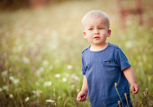 Happy little boy playing in the meadow