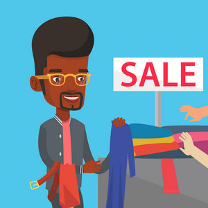 Happy male customer buying clothes at store on sale. African-american man choosing clothes in shop on sale. Young man shopping in clothing shop on sale. Vector flat design illustration. Square layout.
