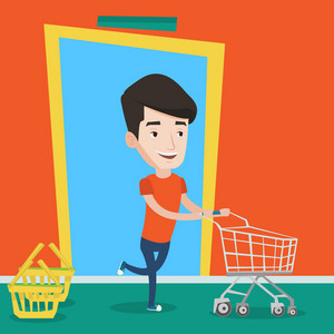 Happy man rushing to shopping. Cheerful customer with an empty shopping trolley running into the shop. Young caucasian man pushing supermarket trolley. Vector flat design illustration. Square layout.