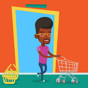 Happy man rushing to shopping. Customer with an empty shopping trolley running into the shop. Young african-american man pushing supermarket trolley. Vector flat design illustration. Square layout.