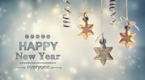 Happy New Year everyone text with hanging star ornaments