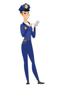 Happy policewoman holding mobile phone and pointing at it. Full length of policewoman with mobile phone. Policewoman using mobile phone. Vector flat design illustration isolated on white background.