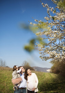 Happy pregnant family having fun in spring nature