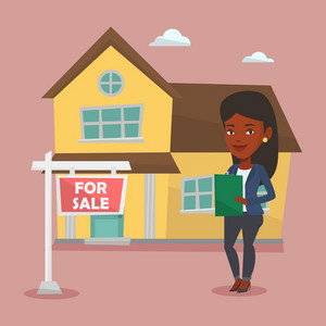 Happy real estate agent signing home purchase contract. Real estate agent standing in front of the house with placard for sale. Realtor selling a house. Vector flat design illustration. Square layout.
