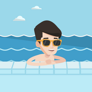 Happy smiling man relaxing in swimming pool at resort. Young man bathing in swimming pool. Cheerful guy swimming and relaxing in pool on summer vacation. Vector flat design illustration. Square layout