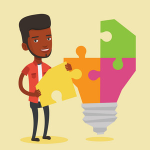 Happy student standing near the idea bulb. An african-american student takes apart idea light bulb made of puzzle. Smiling student having a great idea. Vector flat design illustration. Square layout.