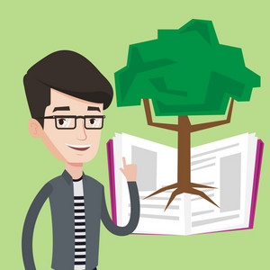 Happy student standing on the background of tree growing from open book. Cheerful student pointing at tree of knowledge. Concept of education. Vector flat design illustration. Square layout.