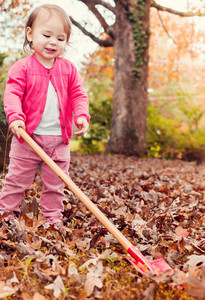 Happy toddler girl playing in the leaves in autumn outside