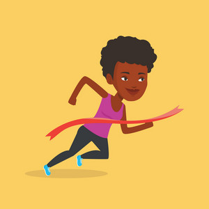Happy young african-american sportswoman running through finishing line. Cheerful winner crossing finishing line. Sprinter breaking the finishing line. Vector flat design illustration. Square layout.
