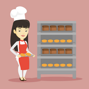 Happy young asian baker holding tray of bread in the bakery. Confident female baker standing near bread rack. Smiling baker holding baking tray. Vector flat design illustration. Square layout.