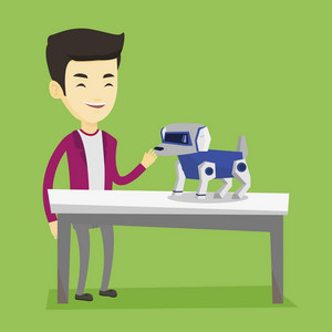 Happy young asian man playing with a robotic dog. Smiling man standing near the table with a robotic dog on it. Man stroking a robotic dog. Vector flat design illustration. Square layout.