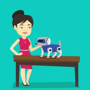 Happy young asian woman playing with a robotic dog. Smiling woman standing near the table with a robotic dog on it. Woman stroking a robotic dog. Vector flat design illustration. Square layout.