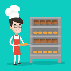 Happy young caucasian baker holding tray of bread in the bakery. Confident male baker standing near bread rack. Smiling baker holding baking tray. Vector flat design illustration. Square layout.