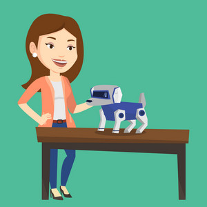 Happy young caucasian woman playing with a robotic dog. Smiling woman standing near the table with a cyber dog on it. Woman stroking a robotic dog. Vector flat design illustration. Square layout.