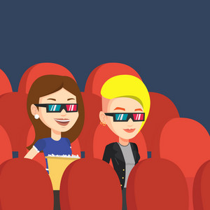 Happy young friends watching three D movie in the theatre. Smiling caucasian friends in 3d glasses watching movie and eating popcorn in the cinema. Vector flat design illustration. Square layout.